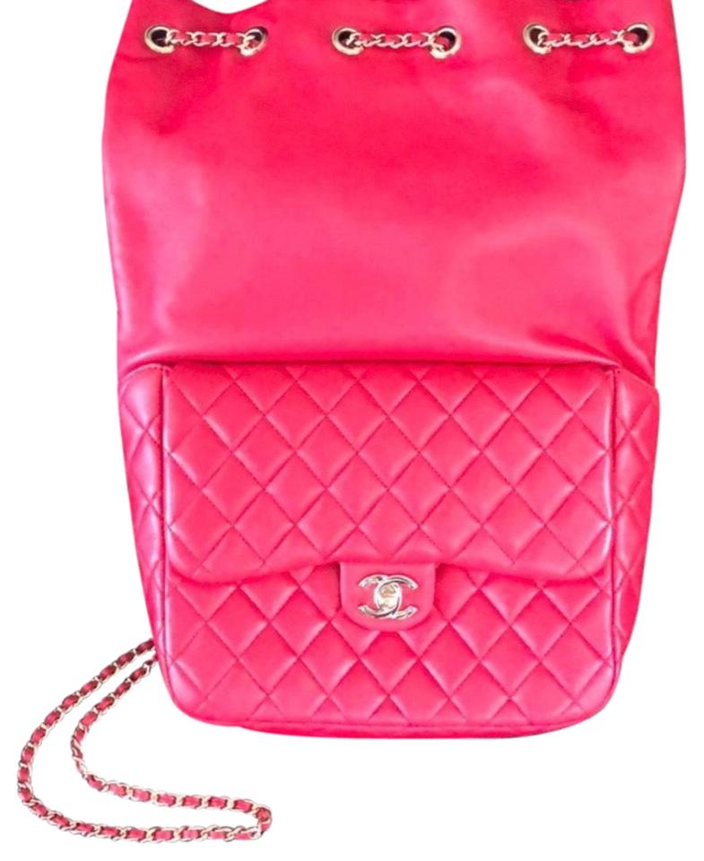 505a8343f636 Chanel Classic Rucksack Cc Chain Quilted Red Lambskin Leather ...