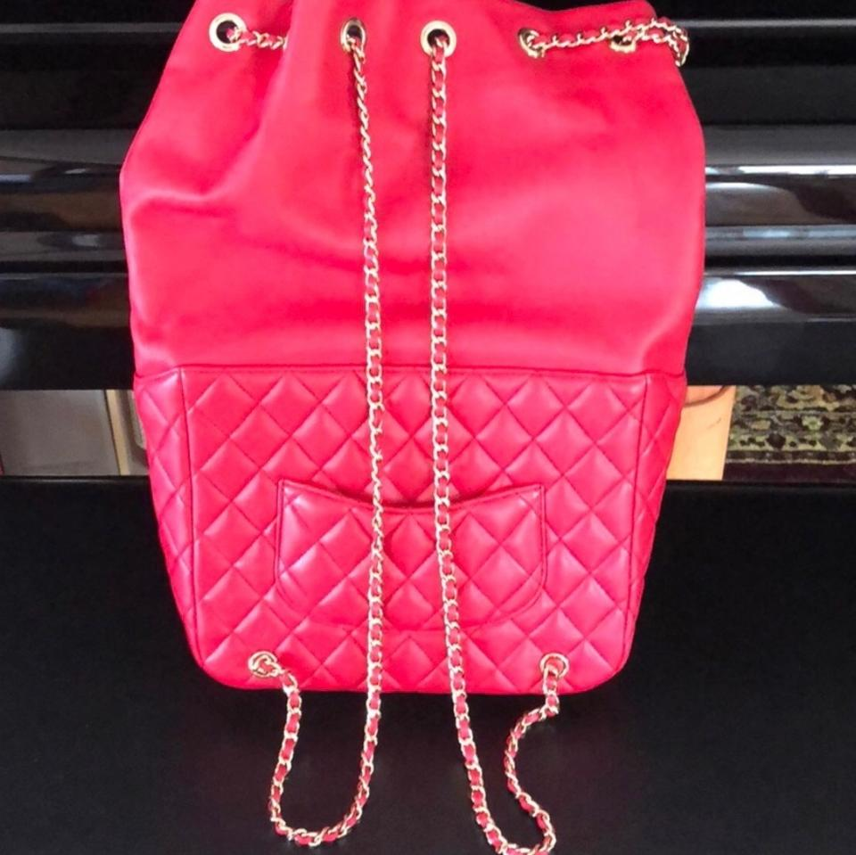 013a9dd9a787 Chanel Classic Rucksack Cc Chain Quilted Red Lambskin Leather Backpack -  Tradesy