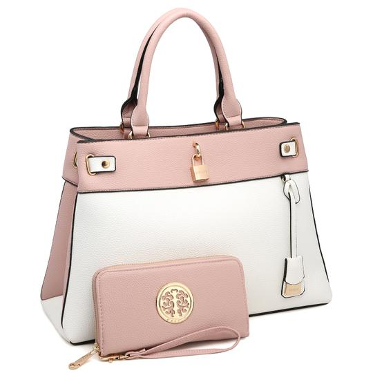 Preload https://img-static.tradesy.com/item/24189784/two-tone-with-padlock-and-matching-wallet-pinkwhite-faux-leather-satchel-0-0-540-540.jpg