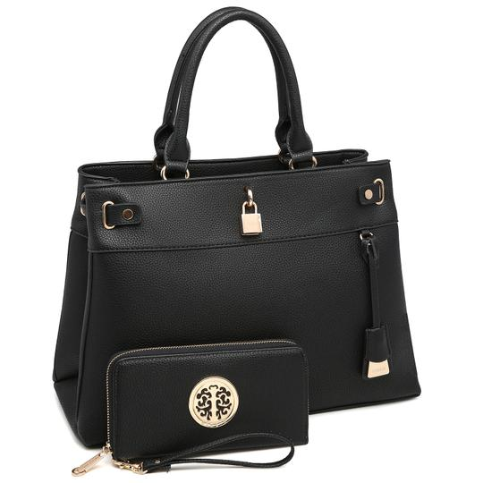 Preload https://img-static.tradesy.com/item/24189791/two-tone-with-padlock-and-matching-wallet-black-faux-leather-satchel-0-0-540-540.jpg