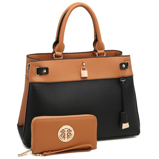 Preload https://img-static.tradesy.com/item/24189796/two-tone-with-padlock-and-matching-wallet-brownblack-faux-leather-satchel-0-0-540-540.jpg