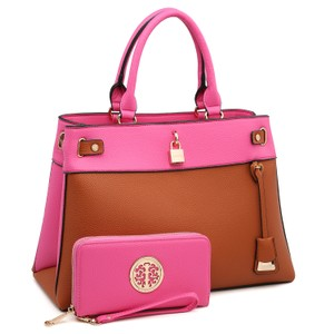 Dasein The Treasured Hippie Vintage Bags Desisigner Inspired Affordable Bags Large Handbags Satchel in Fuchsia/Brown