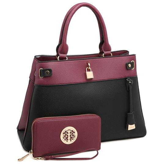Preload https://img-static.tradesy.com/item/24189802/two-tone-with-padlock-and-matching-wallet-purpleblack-faux-leather-satchel-0-0-540-540.jpg