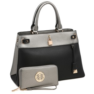 Dasein The Treasured Hippie Vintage Bags Desisigner Inspired Affordable Bags Large Handbags Satchel in Silver/Black