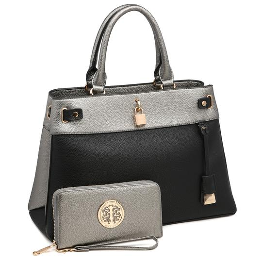 Preload https://img-static.tradesy.com/item/24189805/two-tone-with-padlock-and-matching-wallet-silverblack-faux-leather-satchel-0-0-540-540.jpg