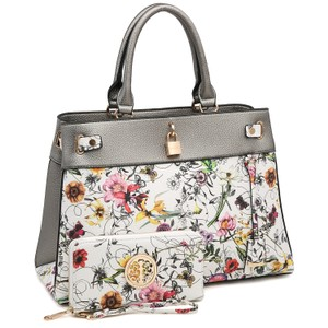 Dasein The Treasured Hippie Vintage Bags Desisigner Inspired Affordable Bags Large Handbags Satchel in Silver White/ Flower
