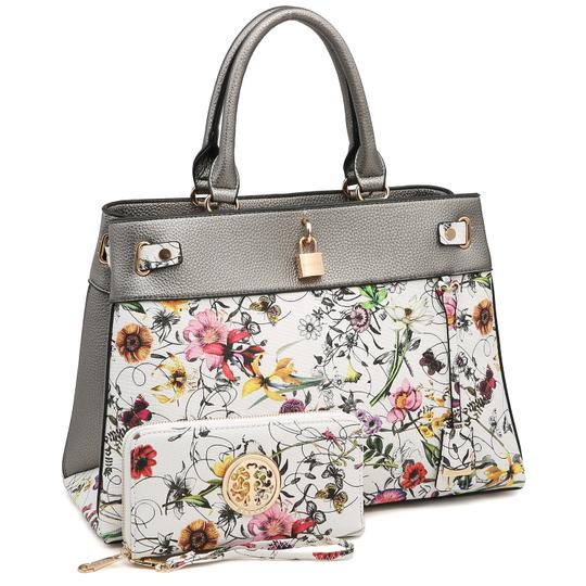 Preload https://img-static.tradesy.com/item/24189815/two-tone-with-padlock-and-matching-wallet-silver-white-flower-faux-leather-satchel-0-0-540-540.jpg