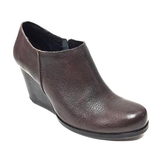 Kork-Ease Leather Zip Up Wedge Brown & Black Boots