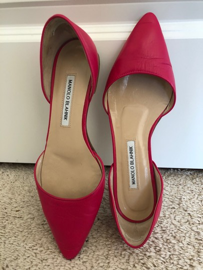 Manolo Blahnik Dorsay Leather Hot Pink Flats