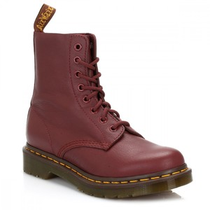 Dr. Martens Leater Vintage Lace Up Red Boots