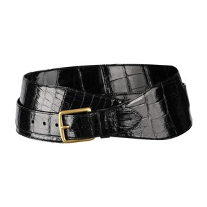 Ralph Lauren Ralph Lauren Belt Black Alligator Double Wrap Brass Buckle M new