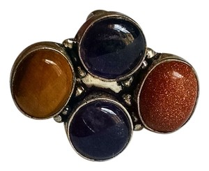 New Sun Sitara Amethyst Tiger's Eye Gemstone Ring Size 8.5 Set 925 Silver J830