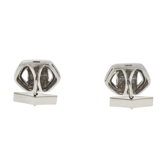 Other 14k White Gold Cufflink With Three Tiny Rows of Diamonds .60 Cts TW