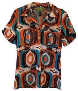 Tracy Porter Button Down Shirt orange turquoise brown ivory