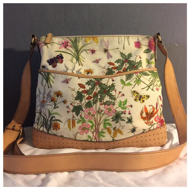 Item - Flower &bugs Multi Color Canvas Shoulder Bag