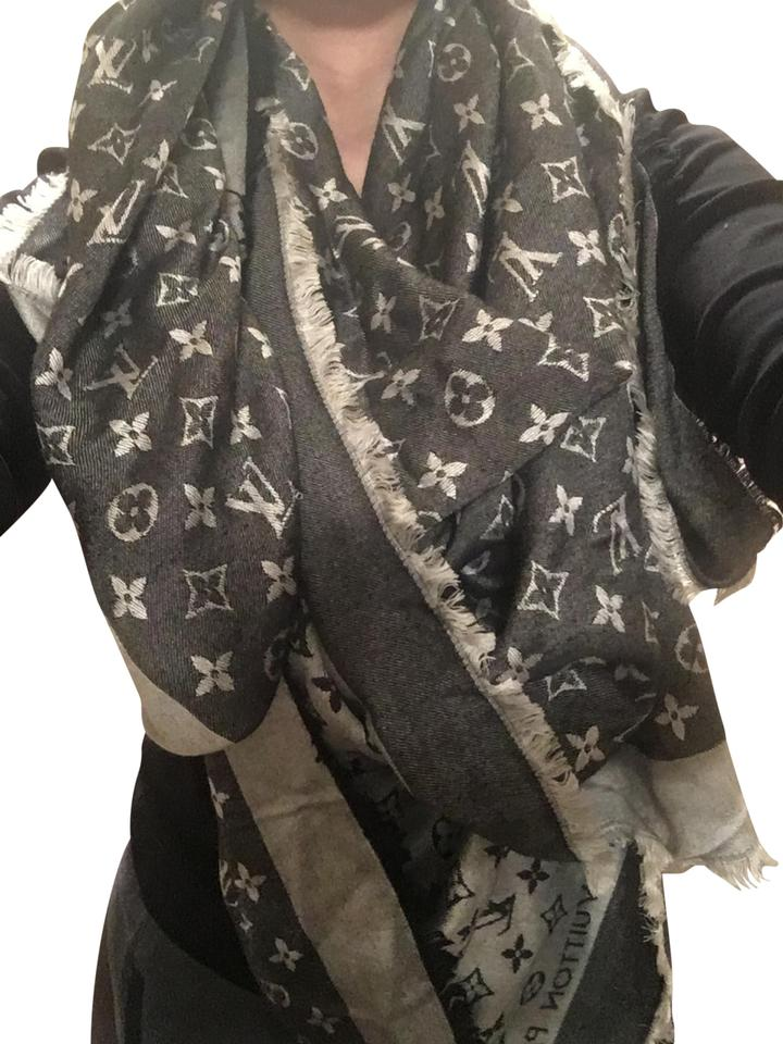 fa798bacd Louis Vuitton Black and Silver Monogram Shawl Scarf/Wrap - Tradesy