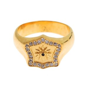 Gold D19137-2 Plated 925 Sterling Silver Ring (Eu 66 / Us 12) Men's Jewelry/Accessory