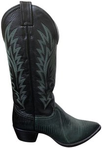 Justin Western Cowboy Black Leather/Dark Green Lizard Boots
