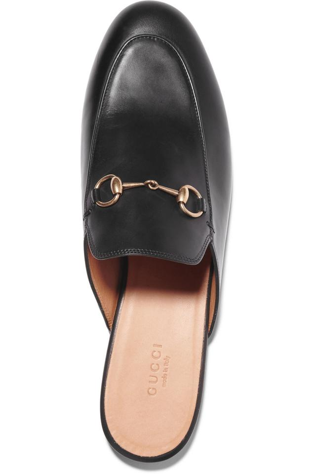 6037ca94997 Gucci Black Horsebit Princetown Embellished Leather Mule Flats Size ...