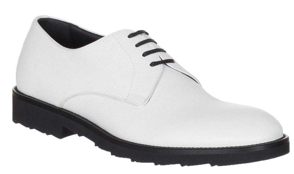Dolcegabbana White Mens Pebbled Leather Lace Up Oxford Derby Formal Shoes Size Us 9 Regular M B 59 Off Retail