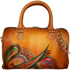 Anuschka Convertible Hand Painted Leather Satchel in Multi color