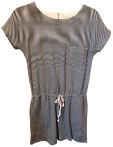 Lou & Grey short dress Gray and White Striped Cotton Polyester on Tradesy