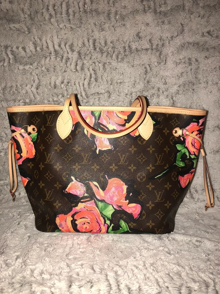 Louis Vuitton Neverfull Mm Monogram with Dayglow Roses Tote - Tradesy 07760499dd631