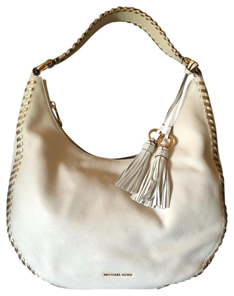 5bad7394192b Michael Kors Lauryn Lg Shoulder Optic White Pebbled Leather Hobo Bag ...