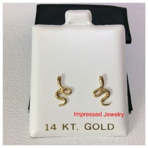 Yellow 14k Gold Snake Shaped Screwback Children Women Stud Earrings