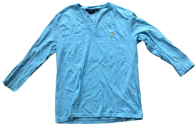 Item - Light Blue and Yellow Longsleeve Polo Sport Tee Shirt Size 8 (M)