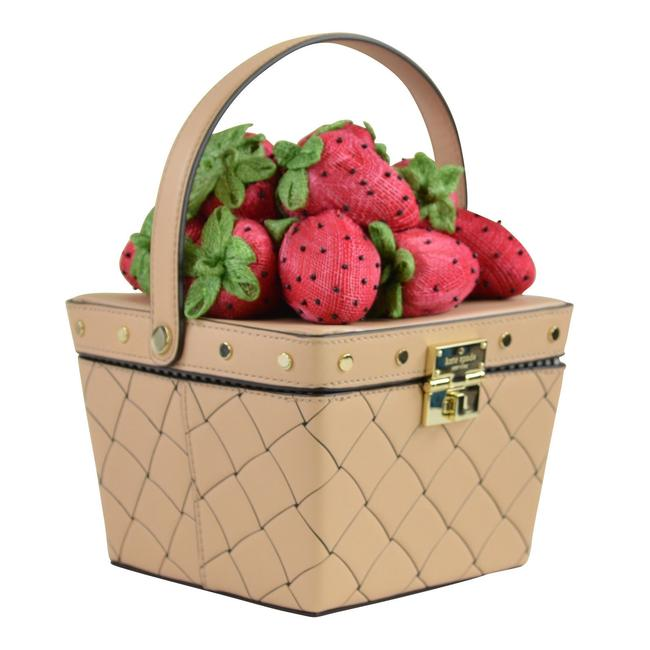 Kate Spade Picnic Perfect Strawberry Woven Cashew Leather Satchel Kate Spade Picnic Perfect Strawberry Woven Cashew Leather Satchel Image 1