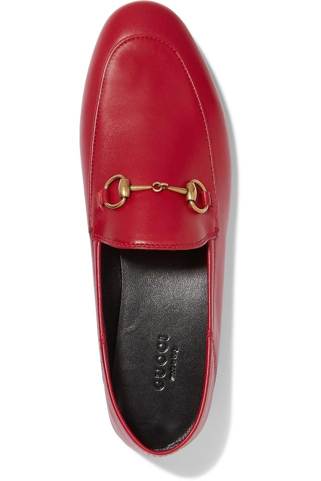 7b242eb63b76 Gucci Red Horsebit Brixton Horsebit-detailed Leather Collapsible-heel  Loafers Flats