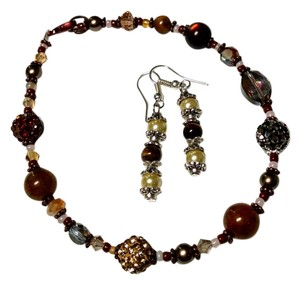 Other New Handmade Tiger's Eye Glass Pearl Copper Anklet & Earrings Set J831