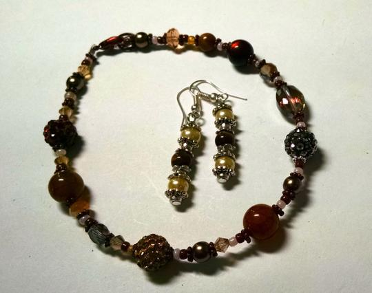 Other New Handmade Tiger's Eye Glass Pearl Copper Anklet & Earrings Set J831 Image 1