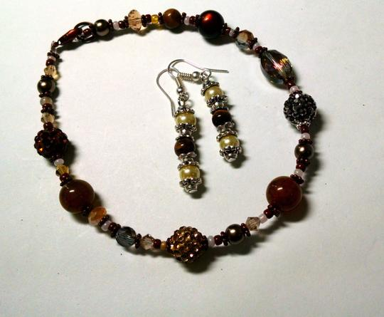 Other New Handmade Tiger's Eye Glass Pearl Copper Anklet & Earrings Set J831 Image 2