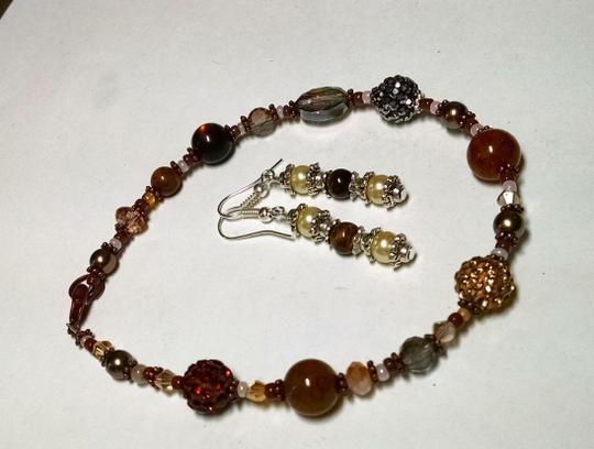 Other New Handmade Tiger's Eye Glass Pearl Copper Anklet & Earrings Set J831 Image 3