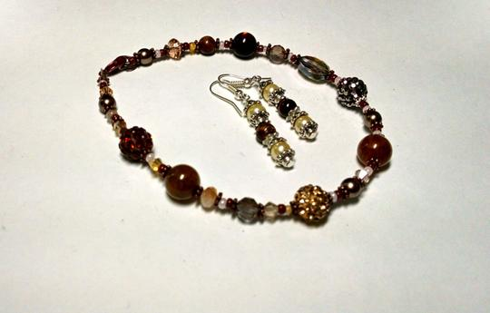 Other New Handmade Tiger's Eye Glass Pearl Copper Anklet & Earrings Set J831 Image 4