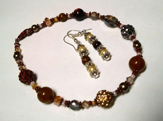 Other New Handmade Tiger's Eye Glass Pearl Copper Anklet & Earrings Set J831 Image 5