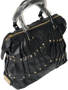 Valentino Studded Leather Vintage Pintucked Tote in Black
