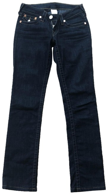 Item - Blue and Silver Dark Rinse Sequined Logo Pockets Straight Leg Jeans Size 0 (XS, 25)
