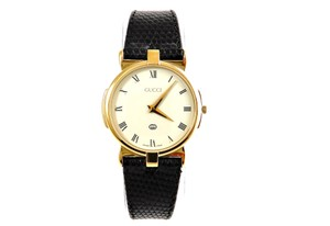 030ad496e67 Gucci Gold Vintage 3400m Men s Leather Band Watch - Tradesy