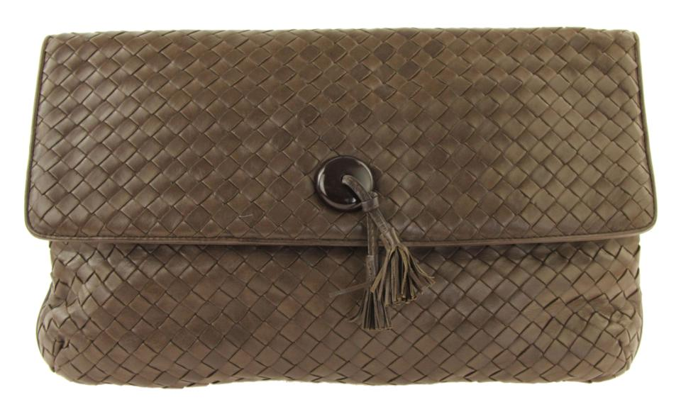 f244689ba945 Bottega Veneta Flap Brown Leather Clutch - Tradesy