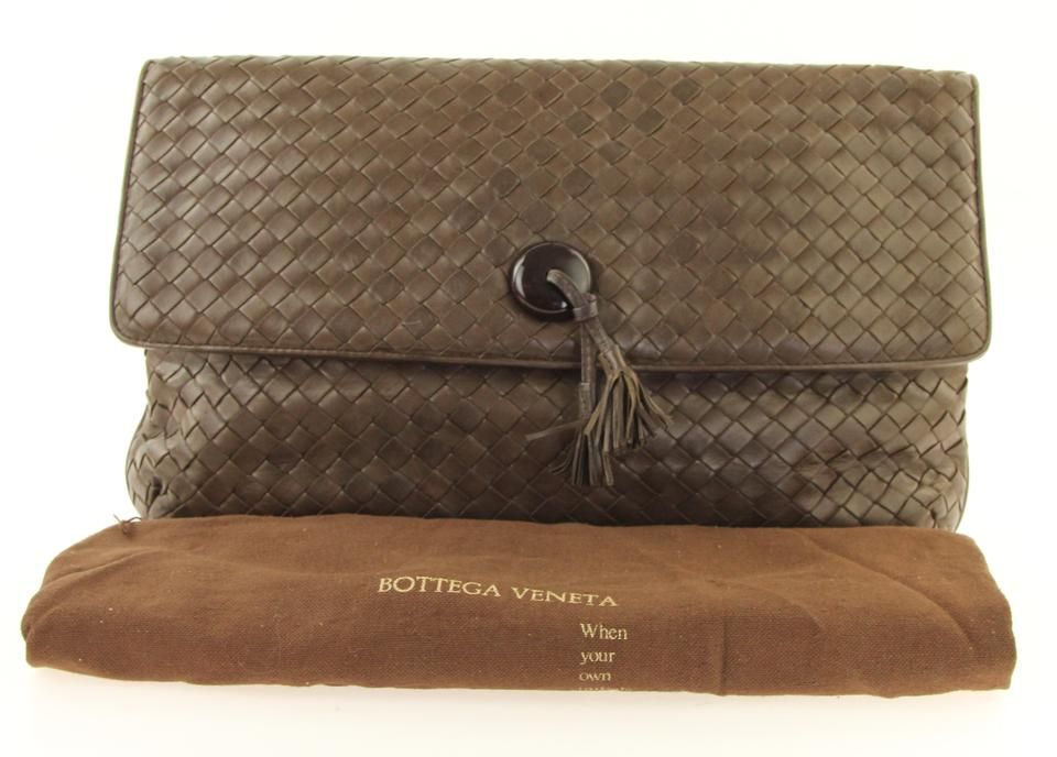 Bottega Veneta Flap Brown Leather Clutch - Tradesy 1a8c09765905b