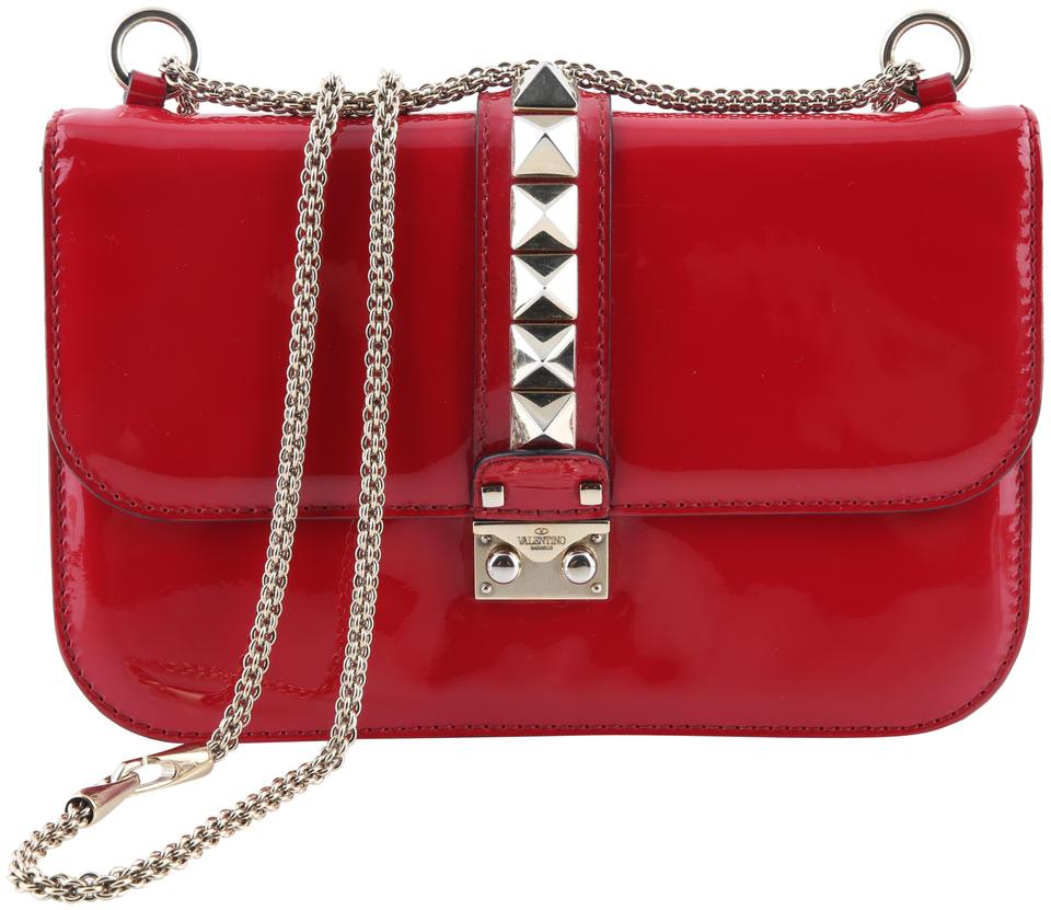 e082810314 Valentino Rockstud Lock Red Patent Leather Cross Body Bag - Tradesy