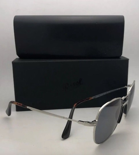 Persol New PERSOL Sunglasses 2449-S 518/56 56-17 145 Silver Frame w/Blue Grey Image 4