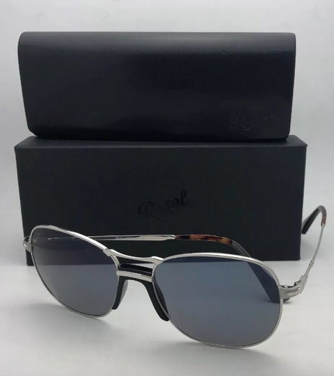 Persol New PERSOL Sunglasses 2449-S 518/56 56-17 145 Silver Frame w/Blue Grey Image 8