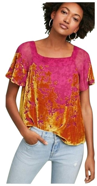 Preload https://img-static.tradesy.com/item/24191886/anthropologie-pink-and-gold-ombre-shimmer-tee-blouse-size-0-xs-0-1-650-650.jpg
