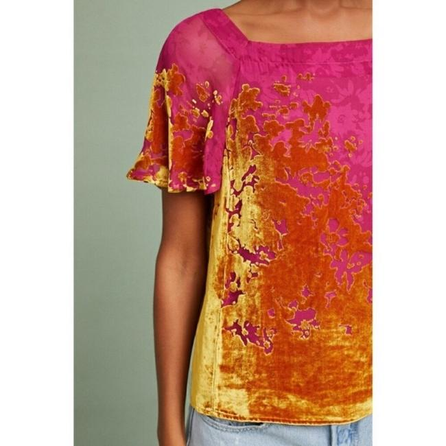 Anthropologie Top pink and gold Image 1