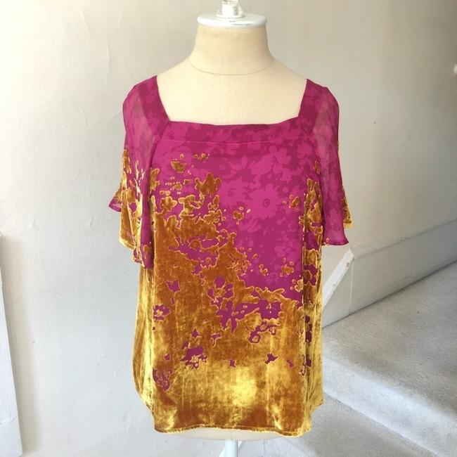 Anthropologie Top pink and gold Image 2