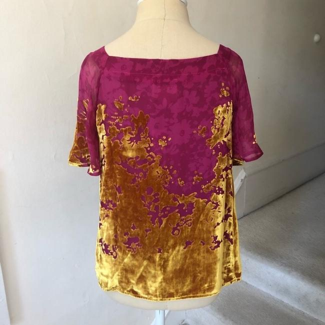 Anthropologie Top pink and gold Image 4